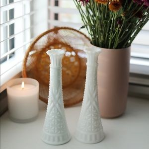 Set of 2 Vintage Anchor Hocking Milk Glass Vase